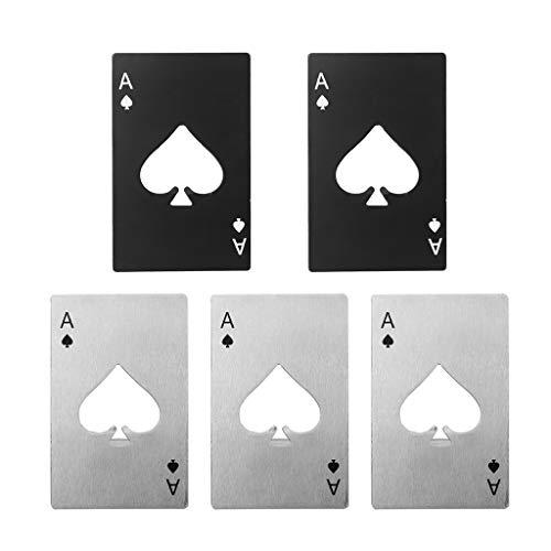 Crazy-M 5 Pezzi apribottiglie Nero apribottiglie apribottiglie apribottiglie in Acciaio Inox offrono Una Carta da Gioco Asso apribottiglie Capsula Lifter in Carte da Poker Design