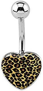 Leopard animal print Heart Belly button navel Ring piercing bar body jewelry 14g