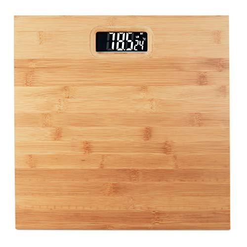 Relaxdays Báscula Baño Digital Hasta 180 kg, Bambú y Plástico, Beige, 3 x 30 x 30 cm