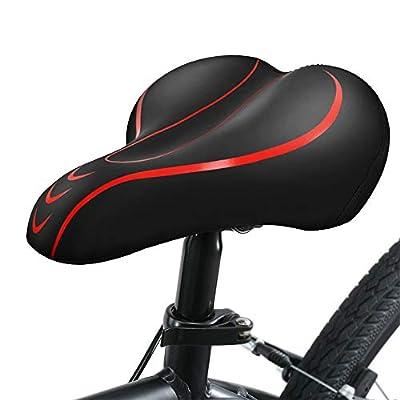 Yoleo Bike Seat Comfortable Gel Bicycle Seat Memory Foam Waterproof Bicycle Saddle, Dual Shock Absorbing Ball Universal Replacement for Men Women/Indoor-Outdoor (Red)