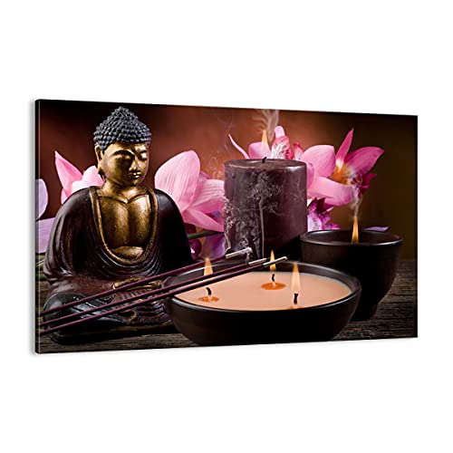 Cuadro sobre lienzo - Impresión de Imagen - Buda velas Religión - Imagen Impresión - Cuadros Decoracion - Impresión en lienzo - Cuadros Modernos - Lienzo Decorativo - Impresión Pinturas - (AB) 2631