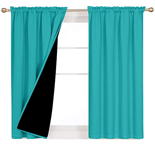 Deconovo Rod Pocket 100% Blackout Teal Curtains with Backing Liner Heath Insulated and Sound Reducing Sturdy Small Window Solid Color Drapes, Set of 2, Each Panel 52 x 45 in, Teal
