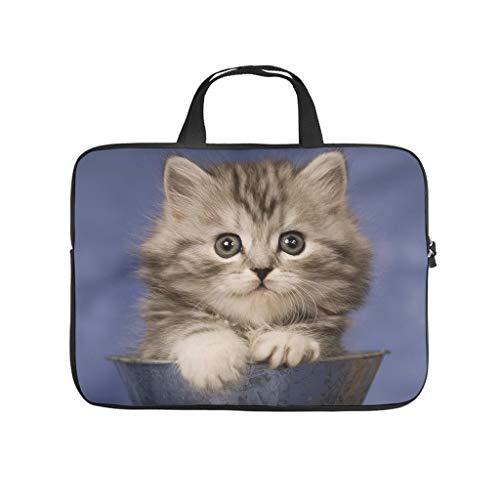 Niedliche Katze sitzt im Waschbecken, Tier-Laptop-Tasche, Muster, Laptop-Tasche, weich, staubdicht, Notebook-Tragetasche mit tragbarem Griff, für Damen und Herren, weiß, 15 Zoll