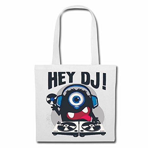 Tasche Umhängetasche Hey DJ Monster ALS DJ MIT KOPFHÖRER UND Schallplatte MISCHPULT MUSIKANLAGE Techno Jazz Funky Soul Trance Festival House Hiphop HIP HOP DJ Einkaufstasche Schulbeutel Turnbeutel