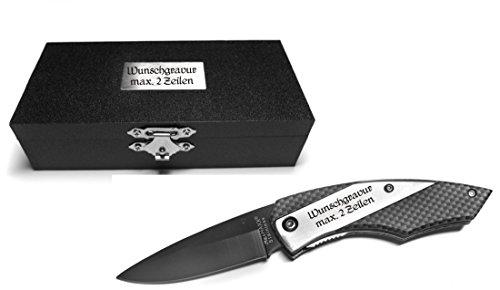 Taschenmesser in Carbon Optik (im Holzetui) (Mit Gravur Messer + Box)