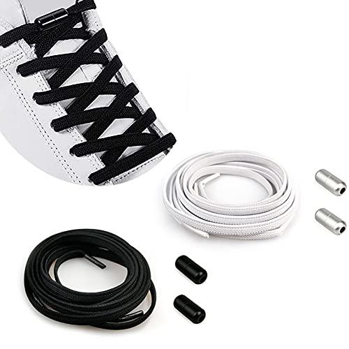 Cordones Elásticos Sin Nudo con Hebilla Metal   Cordones Elásticos Zapatillas Silicona/Cordones Elásticos de Goma con Botón de Metal [No es Necesario Atar los Cordones de los Zapatos Adultos Niños]