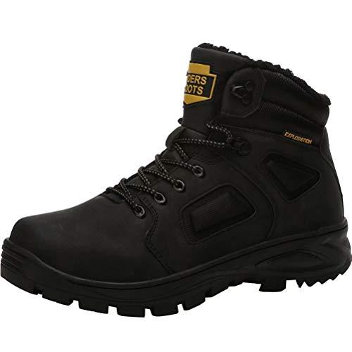 Hombre Botas de Nieve Impermeable Botas de Invierno Forro Piel Zapatillas Trekking Senderismo Sneakers Negro 43