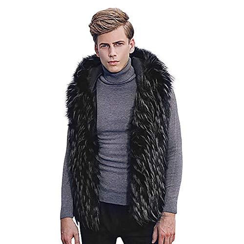 Mannen Faux Bont Vest Jacket Dikke Gilet Vintage, Mouwloos Winter Lichaam Warm Jas Hooded Taillejas Bovenkleding Sweater Plus Size