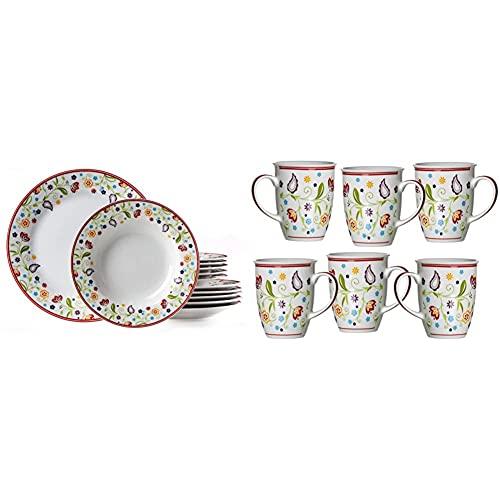 Ritzenhoff & Breker Tafelservice Doppio Shanti, 12-teilig, Porzellangeschirr & Kaffeebecher-Set Doppio Shanti, 6-teilig, Porzellan