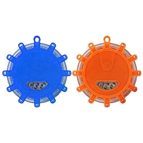 2 Pack LED Warnleuchten Warnlicht Auto Rundum-Warnblinkleuchte Sicherheitsfackel-Kit für Fahrzeuge,Magnetisch Wasserdicht Kabellos Antikollisions Sicherheitswarnleuchten Auto Ein/Aus (Orange+Blau)