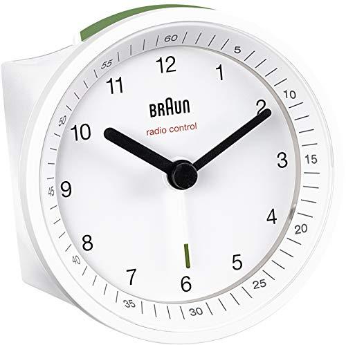 Braun BNC007WHWHRC Radio Controlled Alarm Clock, Plastik, White, 8 x 8 x 6.5 cm