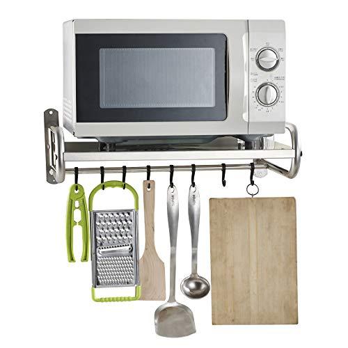 Microwave Oven Rack Regal, Wandhalterung FüR KüChe Mikrowelle Backofen Wandhalterungen Edelstahl Universal Regal Mikrowellenhalterung - L53cm