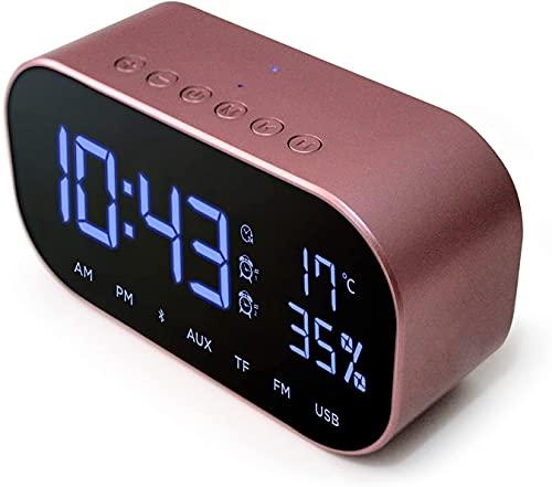 GLLP アラーム時計スピーカーデジタル時計ベッドサイドデュアル付き USB 充電デュアル3Wドライバステレオスピーカー、FMラジオ、4.2、 AUX TF カード、調光対応、スヌーズ、温度計。