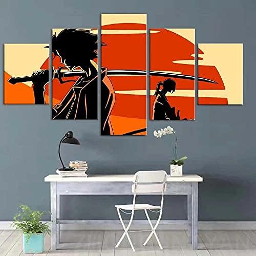 Cuadro Póster Samurai Champloo Anime Mugen Y Jin XXL Impresiones En Lienzo 5 Piezas Cuadro Moderno En Lienzo Decoración para El Arte De La Pared del Hogar HD Impreso Mural Enmarcado