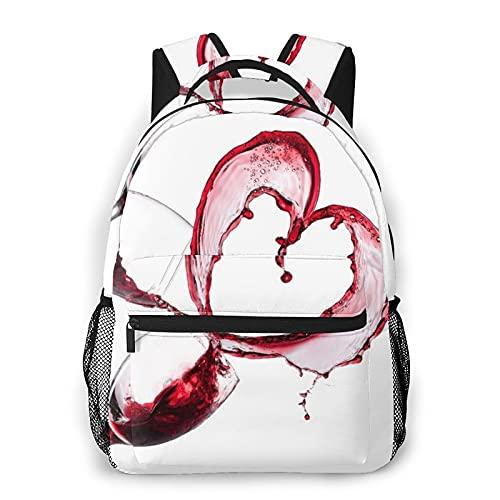 EURmermaid Mochila para portátil de viaje,corazón con vino tinto derramado en vasos Amor romántico Día de San Valentín Mochila antirrobo resistente al agua para empresas Delgada Duradera
