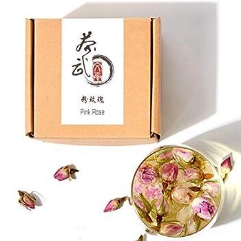 Cha Wu-[A] Pink Rose Buds 3oz ,Loose Leaf Flower Petal Tea,Natural Fragrant Herbal Tea ,Afternoon Tea