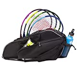 3 Racquet Tennis Bag | Protect Rackets in Padded Lightweight Over Shoulder Case | Designed for Men, Women, Youth and Adults (Black)