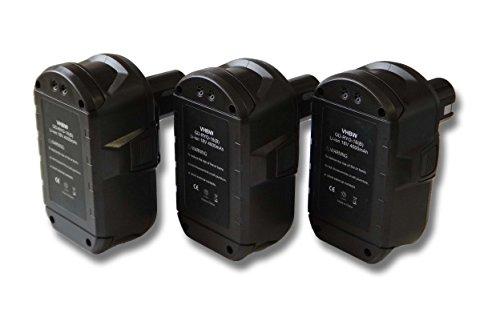 Lot 3x Batterie Li-Ion 4000mAh (18V) vhbw pour outils Ryobi CP-180M, CPD-1800, CPL-180M, CRA-180M, CRH1801, CRO-180M, CRP-1801, CRP-1801, DM.