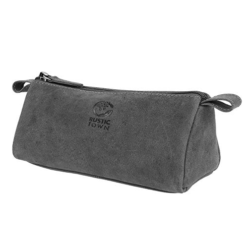GENUINE LEATHER Zippered Pen Pencil Pouch Gift for Men Women ~ Carry Charcoal Marker Color Brush Bag for Artist Students ~ Craft Tool Kit ~ For College School Office Business Work (Grey)