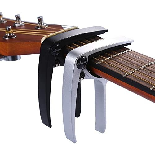 Asmuse Kapodaster 2 stück für Gitarre Westerngitarre Akustische Klassische Gitarre Folkgitarre Ukelele E-Bass Instrument Guitar Capo mit 6 Gitarrenplektren