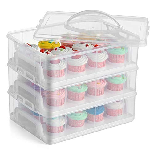 FEOOWV 3 Tier Plastic Cupcake Carrier Holder, Portable Storage Container for Storing 36 Cupcakes or 3 Large Cakes Pastry