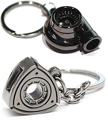 2PC Keychain Set - Wankel Rotary Engine & Turbo Keychain Combo