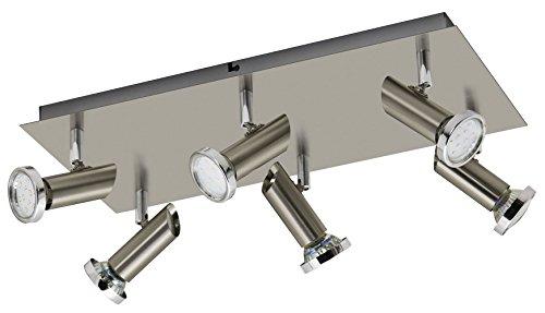 Trango 6-flammig LED Deckenleuchte TG3093 in Edelstahl-Look incl. 6x 3 Watt LED Leuchtmittel - Bad Lampe, Deckenlampe, Deckenstrahler, Deckenspot, Wohnzimmer Lampe schwenkbar