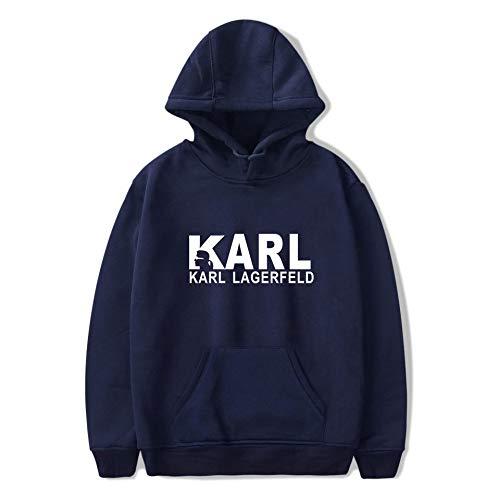 WONS Sweatshirt Karl Lagerfeld Gedruckt Sweatshirt Beiläufig Lose Kapuzenpullover Unisex Trend Freizeit/Blau/S