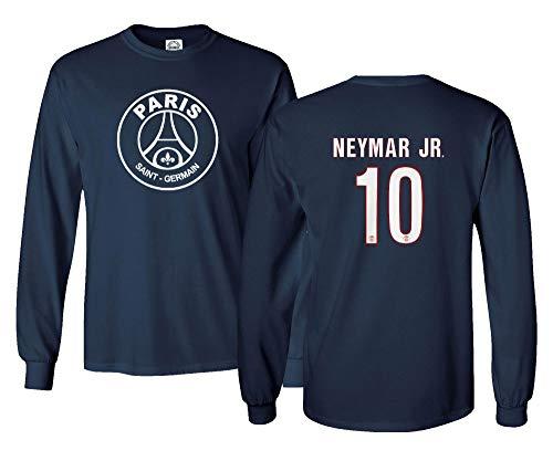 Spark Apparel New Paris Soccer Shirt #10 Neymar Jr. Men's Long Sleeve T-Shirt (Navy, Large)