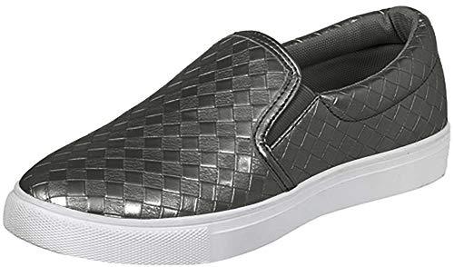 Pierre Dumas Ladies Traveler-1 Slip-On Woven Sneaker Grey, 9