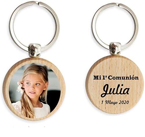 Llavero con foto (PACK DE 10) personalizado por las dos caras. Llavero para comunión, bautizo, despedidas y cualquier evento