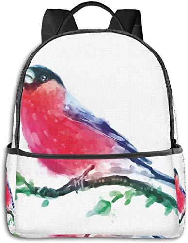 Robin Rouge coiffé sur Une Branche avec de Petites Feuilles, Peint à la Main, inspiré de la Nature, Sac à Dos de Voyage de randonnée décontracté 12 '5' 14,5 'LWH