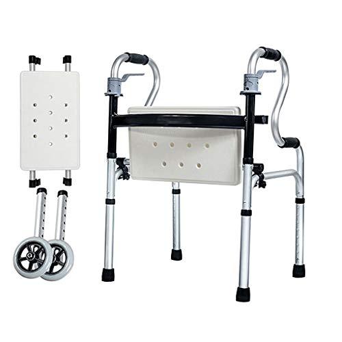 Rollatoren Aluminium-Gehgestell mit Sitzkissen, mit Zwei Umlenkrollen, 180 KG, mit Klappgriff, höhenverstellbares Gehgestell