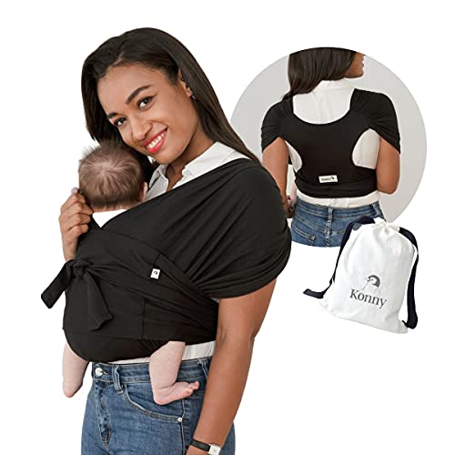 Konny Baby Carrier   Ultra-Lightweight, Hassle-Free Baby Wrap Sling   Newborns, Infants to 44 lbs Toddlers   Soft and Breathable Fabric   Sensible Sleep Solution (Black, M)