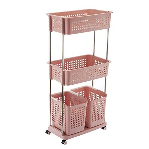 Cesta estante estantes de almacenamiento de almacenamiento de cocina, ropa, caja de juguetes, cesta de almacenaje de la cocina pequeña estantería de almacenamiento de cocina (Color: azul, tamaño: L),
