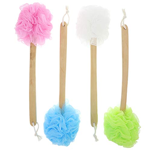 Juvale Bath Shower Body Wash Puff with Long Handle (4 Pack) 4 Colors