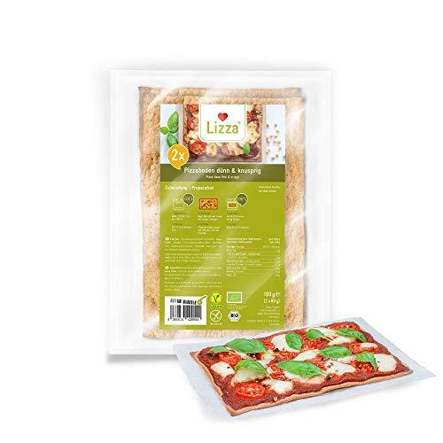 Lizza Low Carb Pizzaböden (Dünn & Knusprig) | 94% weniger Kohlenhydrate | Bio, Glutenfrei, Vegan | Keto | Protein- und Ballaststoffreich | Ohne Zuckerzusatz | Ohne Konservierungsstoffe | 4x Pizzaböden