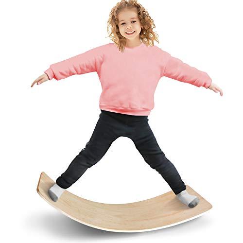 UMTOY Wobble Board Hardwood Original Wooden Balance Board Wobble Yoga See Saw Teeter Totters for Kids Teens Adults Bridge STEM Montessori Game Toys