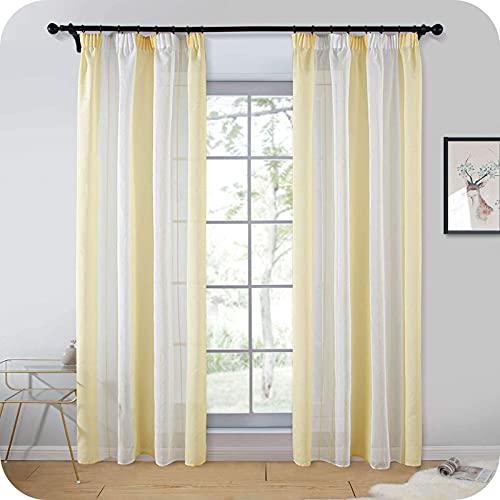 Topfinel Juego de 2 Cortinas Transparentes de Gasa a Rayas Amarillas y Blancas con Cinta Fruncida, decoración para habitación Infantil, 140 x 235 cm