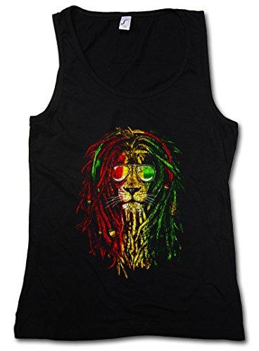 Urban Backwoods Rastafari Lion I Mujer Camiseta Sin Mangas Women Tank Top Negro Talla M