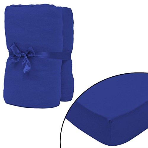 ghuanton 2X Hoeslakens katoenen jersey 160 GSM 140x200-160x200cm Blue Home & Garden bed- en huishoudlinnen lakens