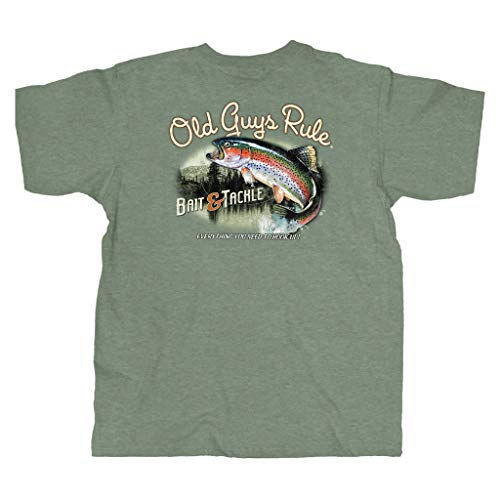 OLD GUYS RULE T Shirt for Men | Bait & Tackle | Cool, Funny Graphic Tee for Dad, Husband, Grandfather Gift | Heather Military Green (Large)