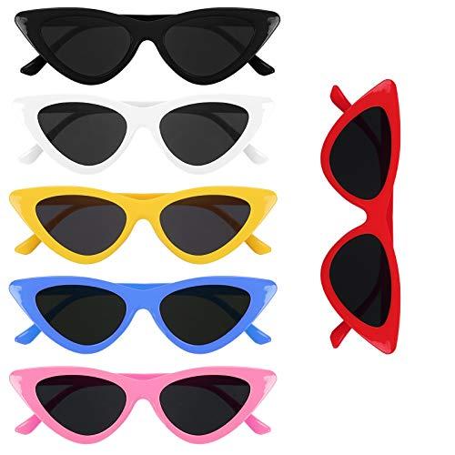 BIGKASI 6 UDS, Gafas de Neón Retro, Gafas de Sol Triangulares, Gafas de Ojo de Gato, Estilo Ojo de Gato para Mujer, Niña, Fiesta, Carnaval, Decoración