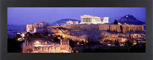 Amazon Com Easy Art Prints Panoramic Images S Acropolis Athens Greece Premium Framed Canvas Art 36 X 12 Modern Black Frame Posters Prints