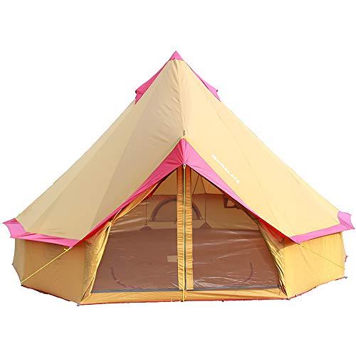 Tienda de campaña Ligera, Tiendas de yurta de 4 Estaciones para Acampar, Tienda de Campana de 4 m, Tienda de poliéster Impermeable para 3-10 Personas, Festivales y Refugio Humano para el Ocio