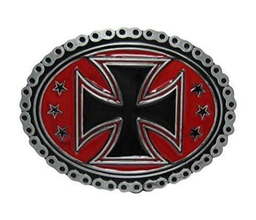 Générique Hebilla de Cinturón Cruz de Malta Contour Estilo Cadena de Moto. Motero Estilo. Fondo rojo.