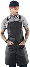 Under NY Sky Cross-Back Panther Black Apron – Coated Twill with Leather Reinforcement and Split-Leg – Adjustable for Men and Women – Pro Barber, Tattoo, Hair Stylist, Barista, Bartender, Server Aprons