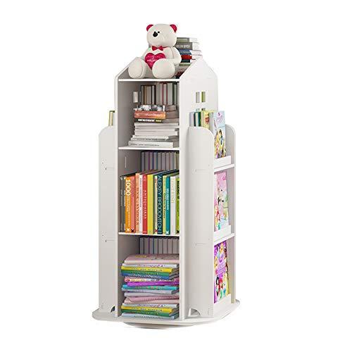 Xin Hai Yuan Bücherregal, 360 ° Drehbar Kinderregal Magazin Bilderbuch Zeitung Rack Boden Einfaches Bücherregal Für Heim Bücherregale Möbel,Weiß