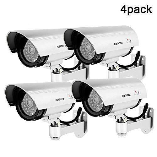 Caméra factice, Caméra de sécurité factice / factice extérieure avec lumière clignotante, Caméra de sécurité de surveillance CCTV, Utilisation intérieure extérieure pour les maisons et les entreprise