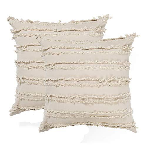 MeMoreCool - Funda de cojín rectangular con flecos modernos para sofá, cama, decoración del hogar, fundas de almohada neutro, 30 x 50 cm, paquete de 2, color blanco
